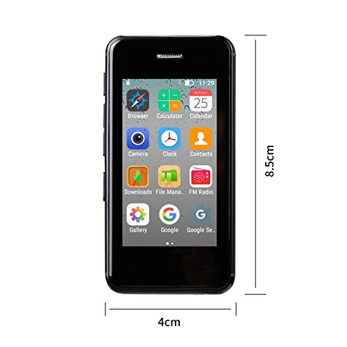Mini Smartphone Android Phone 2.5″ MTK6580A Quad Core 1GB 8GB Android 6.0 Super Ultrathin Mini Mobile Phone Melrose S9X Small Smart Phone (Black)