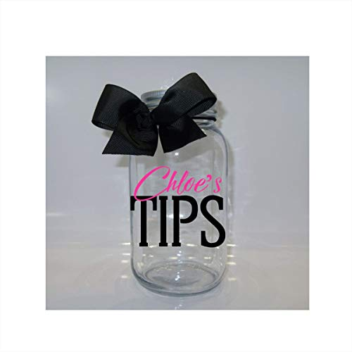 (Personalized Tips Jar Mason Jar Bank - Coin Slot Lid - Available in 3 Sizes)