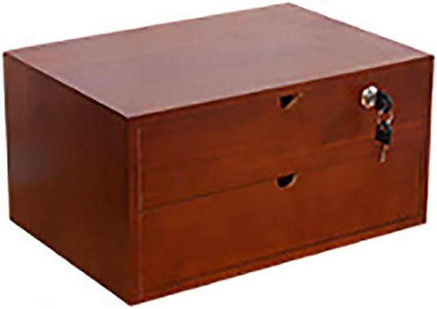 Archivadores de fichas Archivador de datos Con cerradura Caja de almacenamiento de escritorio de oficina Caja de acabado misceláneas marco estante Madera Cajonera pequeña de 1/2 capa Poner papel A4: Amazon.es: Hogar