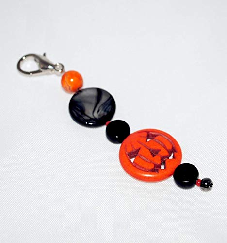 Jewelry Fob with Pumpkin Bead! Halloween Scissor Fob. Purse Dangle. Zipper Pull. Key Chain Dangle. Beaded Scissor Fob.