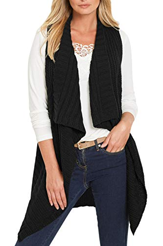 Sovoyontee Women Open Front Knitted Long Cardigan Sweater Vest Pocket Black S ()