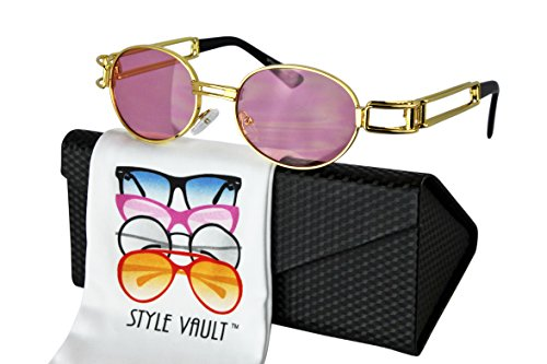 V3134-EC Style Vault Hippie Retro Oval Round Metal small lens Sunglasses (C017 Gold-Candy pink, - Sunglasses Round 60s