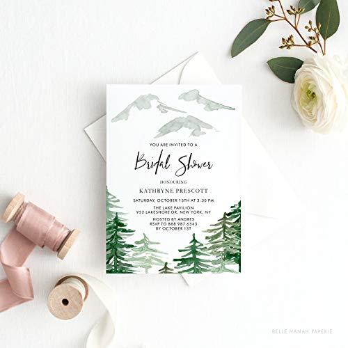 Dozili Bridal Shower Invitation Watercolor Woodland Bridal Shower Invitation Enchanted Forest Invitation Customizable to Any Event -