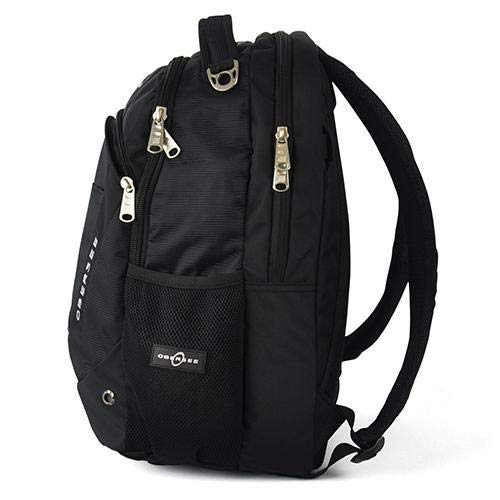 Obersee Oslo Diaper Bag Backpack with Detachable Cooler, Black/Black