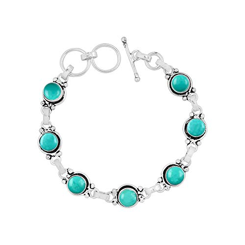Sterling Turquoise Vintage Bracelets - Turquoise Bracelet Sterling Silver Vintage Boho Handmade Style for Women and Girls