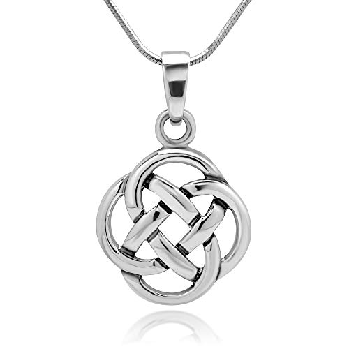 Chuvora 925 Sterling Silver Celtic Knot Five Fold Pattern Round Pendant Necklace, 18 inches (Charm Celtic Womens)