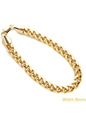 Bracelet Large Cuban Link Chain Bracelets for Men 9MM LIFETIME WARRANTY USA Made 24K Gold Plated Fashion Jewelry, Mens, 30x Thicker than Any Overlay