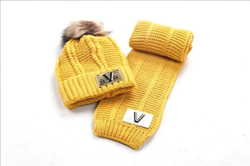 Toddler Baby Winter Warm Earflap Beanie Hat Kid Knit hat(2 Piece Sets),Yellow
