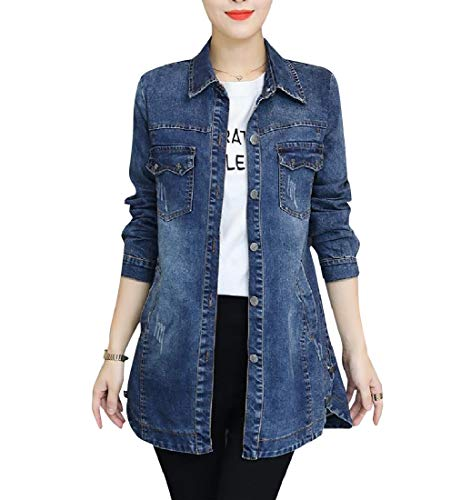 Classics Blue Fall Spring Fitted RkBaoye Parka Blouse Outwear Mid Light Long Women's wqxCP0Cp