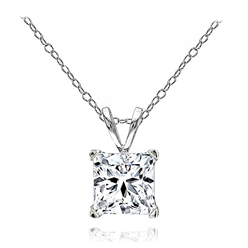 GemStar USA Sterling Silver Princess-Cut 7mm Solitaire Necklace Created with Swarovski Zirconia