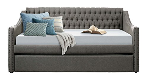 homelegance sleigh daybed with tufted back rest and nail head accent twin dark grey