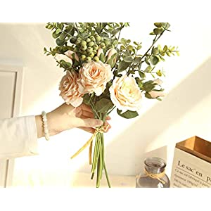 Bridal Rose Wedding Bouquet Bridesmaid Peony Eucalyptus Leaves Bouquets Artificial Silk Flowers Arrangement,Small-White 5