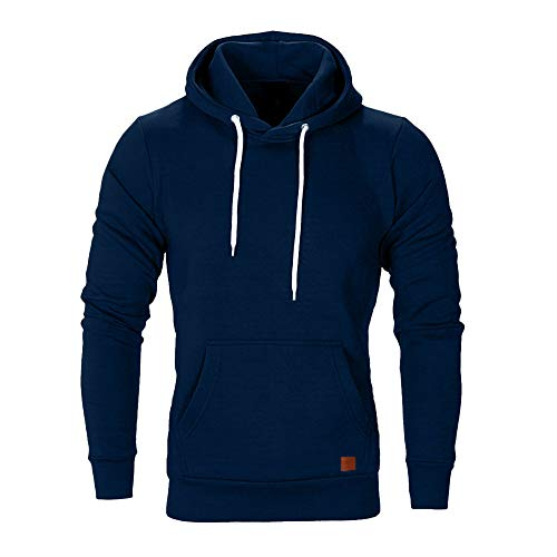 Dressin Big Mens Solid Casual Hoodie Autumn Winter Top Tracksuit with Pocket