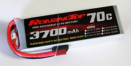 RoaringTop LiPo Battery Pack 70C 3700mAh 4S 14.8V with Deans Plug for RC Car Boat Truck Heli Airplane ()