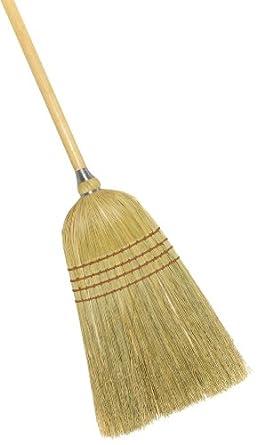 "Weiler 44009 Corn Fiber Light Industrial Upright Broom with Wood Handle, 1-1/2"" Head Width, 54"" Overall Length"