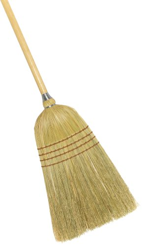 "Weiler 44009 54"" Length, 1-1/58"" Handle Diameter, 4 Sews, Corn Fill, Warehouse Heavy-Duty Upright Broom"