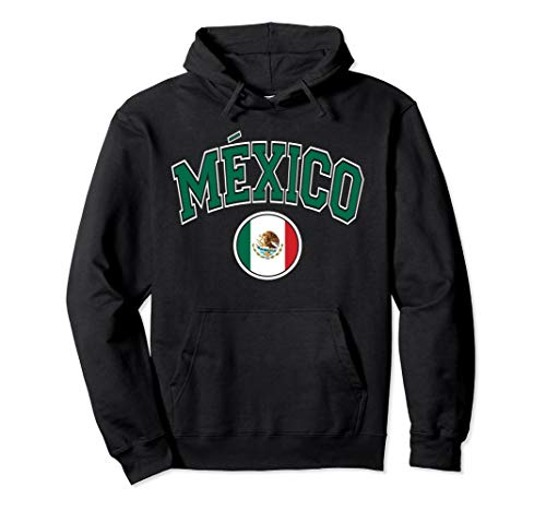Mexico Varsity Style Circle Flag Green Text Pullover Hoodie