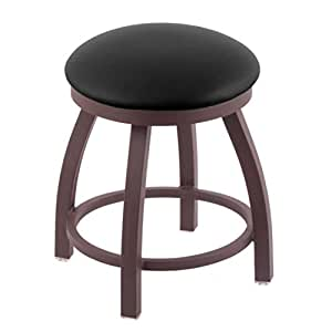 "Holland Bar Stool Co. 802 Misha Vanity Stool with Bronze Finish and Swivel Seat, 18"", Black Vinyl"