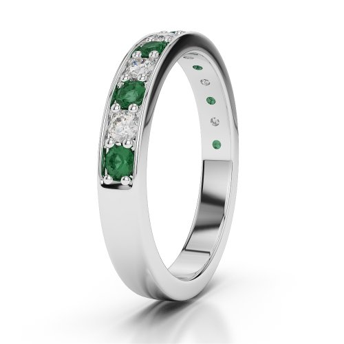G-H/VS 0,38CT Coupe ronde Certifié Émeraude et diamants en platine 950Agdr-1084