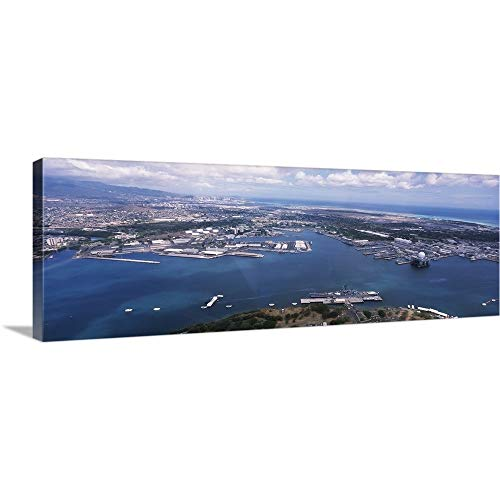GREATBIGCANVAS Gallery-Wrapped Canvas Entitled Aerial View of a Harbor, Pearl Harbor, Honolulu, Oahu, Hawaii by 90