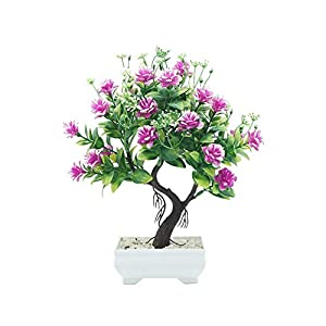 helegeSONG Fake Flowers Silk Plastic Artificial Plant 1Pc Potted Artificial Flower Tree Bonsai DIY Stage Garden Wedding Party Decor for Home,Office,Wedding,Garden, Gift, Desk, Hotel - Rose Red 1