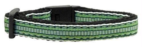 Preppy Stripes Nylon Ribbon Collars Green/White Cat Safety (24 Pack) [Misc.]