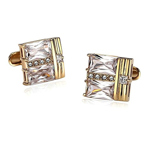 Aooaz Mens Stainless Steel Cufflinks Square Three Section Crystal Gold Cufflinks For Men With Gift Box
