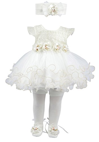 Taffy Baby Girl Newborn Gold Glitter Floral Dress Gown 6, White, Size 0-3 -