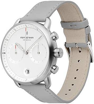 Nordgreen[ノードグリーン] 【Pioneer】 メンズのシルバー の42mm クロノグラフ ホワイト フェイス グレー レザー 腕時計ベルト