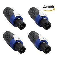 Keilton 4 Pole Audio Loud Speaker Cable Connector Twist Lock Male Plug,4 Pack
