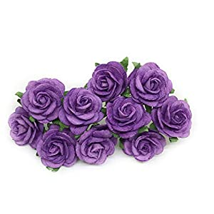 "1"" Purple Paper Flowers Paper Rose Artificial Flowers Fake Flowers Artificial Roses Paper Craft Flowers Paper Rose Flower Mulberry Paper Flowers, 20 Pieces 51"