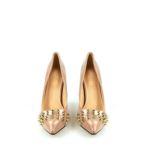 Sommer Ladies Women High Heel Stiletto Slip On Spiked Detail Court Shoe NUDE PATENT r8yjG9o