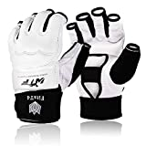 FitsT4 Half Mitts UFC MMA Training Boxing Punch Bag Kickboxing Sparring Grappling Martial Arts Muay Thai Taekwondo Wrist Wraps Support Gloves for Women Men Kids (White, X-Small)