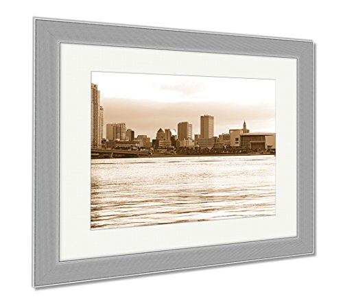 Ashley Framed Prints Miami City Waterfront At Sunset, Wall Art Home Decoration, Sepia, 34x40 (frame size), Silver Frame, (Waterfront Art Set)