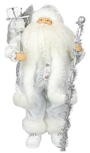 24 whitesilver santa claus wstaff and presents s12405 - White Santa Claus