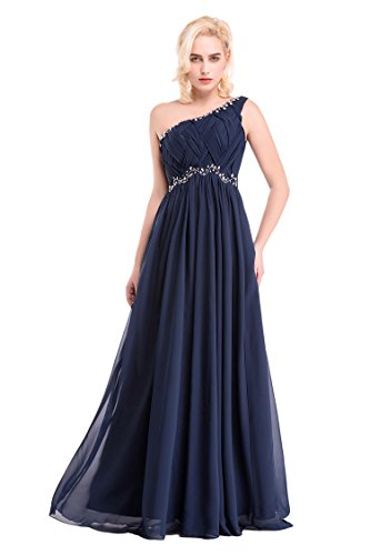 Shoulder Dobelove Chiffon Gown Pleated Beaded Women's Navy One Prom Crystal wHptqTHxv
