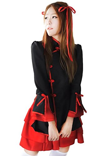 china dress style maid clothes cosplay costume red traditional for women sexy dresses black XL