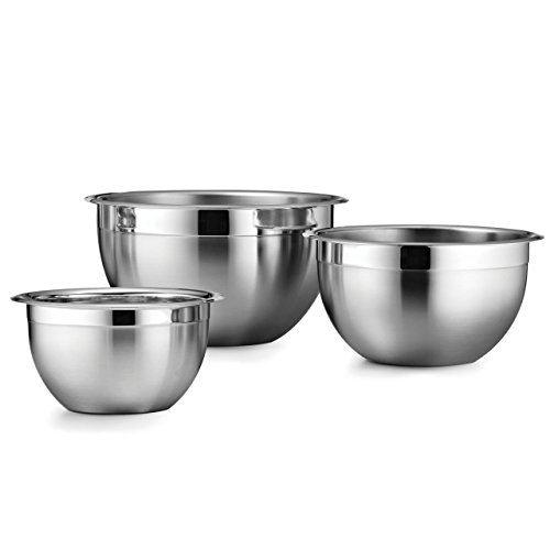 Tramontina 80202/202DS Gourmet 18/10 Stainless Steel Set, NSF-Certified, 3-Piece, Made in Brazil 3-Pack Mixing Bowls, (3qt, 5qt & 8qt) ()