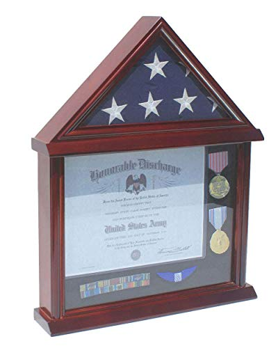 Flag Display Case Certificate Frame Document Holder Stand for 3' X 5' Flag only, Military Medal Pin Shadow Box, - Flag Certificate Display Case