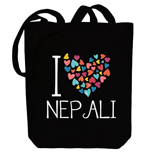 Idakoos I love Nepali colorful hearts - Sprachen - Bereich für Taschen ORP9r