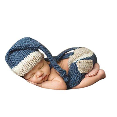 Coromose Newborn Baby Girl Boy Crochet Knit Hat Costume Photography Prop Outfit Set - Del Boy Costume