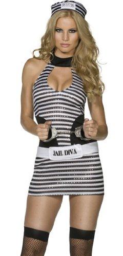 Smiffy's Sexy Prison Inmate Dress Adult Jailbird Halloween Costume Medium ()