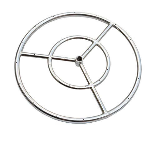 Onlyfire 12-Inch Stainless Steel Round Fire Pit Burner Ring, Double - Burner Pit Fire Steel Stainless
