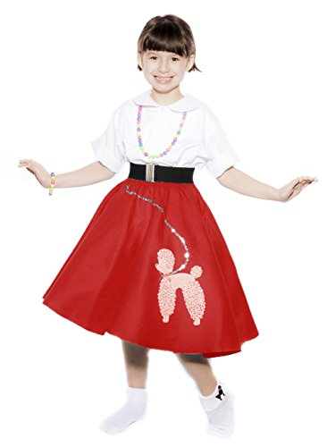 [Hey Viv ! Child Size 50s Red Felt Poodle Skirt & Crinoline Slip Combo Sock Hop Set] (1940s Dance Costumes)