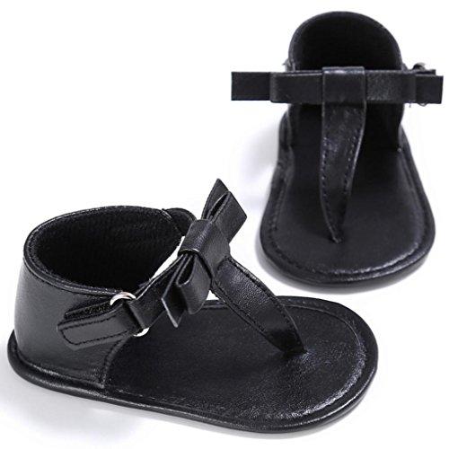Babyschuhe Longra Baby Kleinkind Mädchen Krippe Schuhe Neugeborenen Blume weiche Sohle Anti-Rutsch Baby Sneakers Sandalen lauflernschuhe krabbelschuh�?-18Monate�?Black