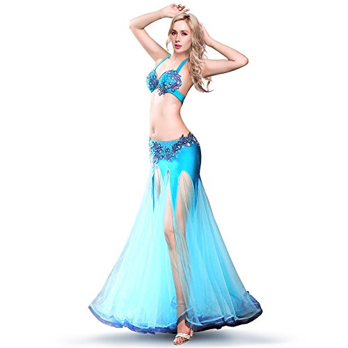 ROYAL SMEELA Belly dance Costume Set Professional Dress Suit For Women Bra Skirt Set, Blue, Large -