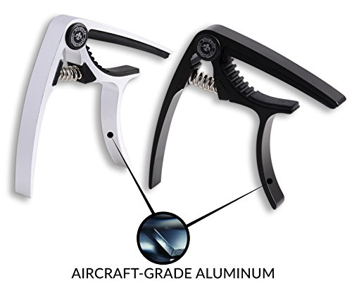 Nordic Essentials Aluminum Metal Universal Guitar Capo, 1.2 oz (2 Pack) - Black and Silver