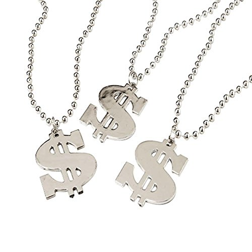 Dollar Sign Necklace,1 Dozen - Costume Beads Silver Jewelry Necklace