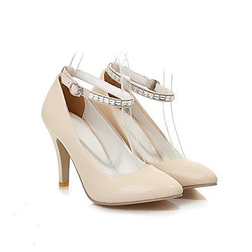 Allhqfashion Donna Fibbia A Punta Chiusa Tacco Alto Pu Scarpe Rigide-scarpe Beige