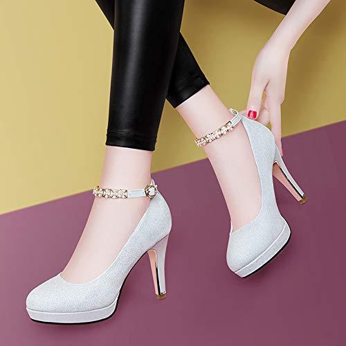 PINGXIANNV Schuhe Der Hohen Absatzfrauen Runde Flache Flache Flache Schuhe des Flachen Stilettstudenten Flachen Munds Einzelne b50c57